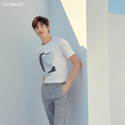 H:CONNECT 韓國品牌 男裝-細格紋修身西裝褲-黑