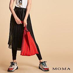 MOMA 假兩件迷彩壓褶褲裙