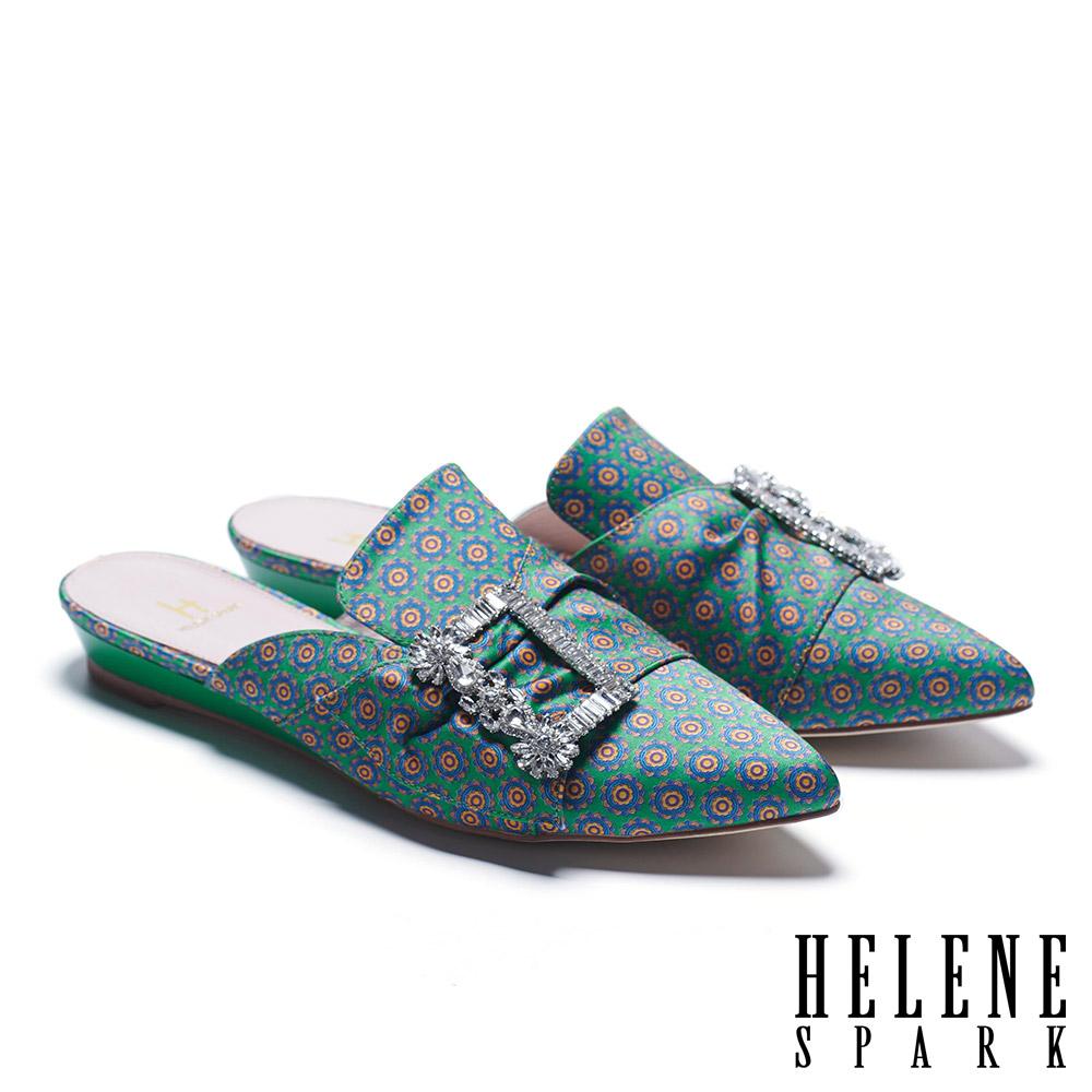 拖鞋 HELENE SPARK 潮流晶鑽方釦印花緞布低跟穆勒拖鞋-綠