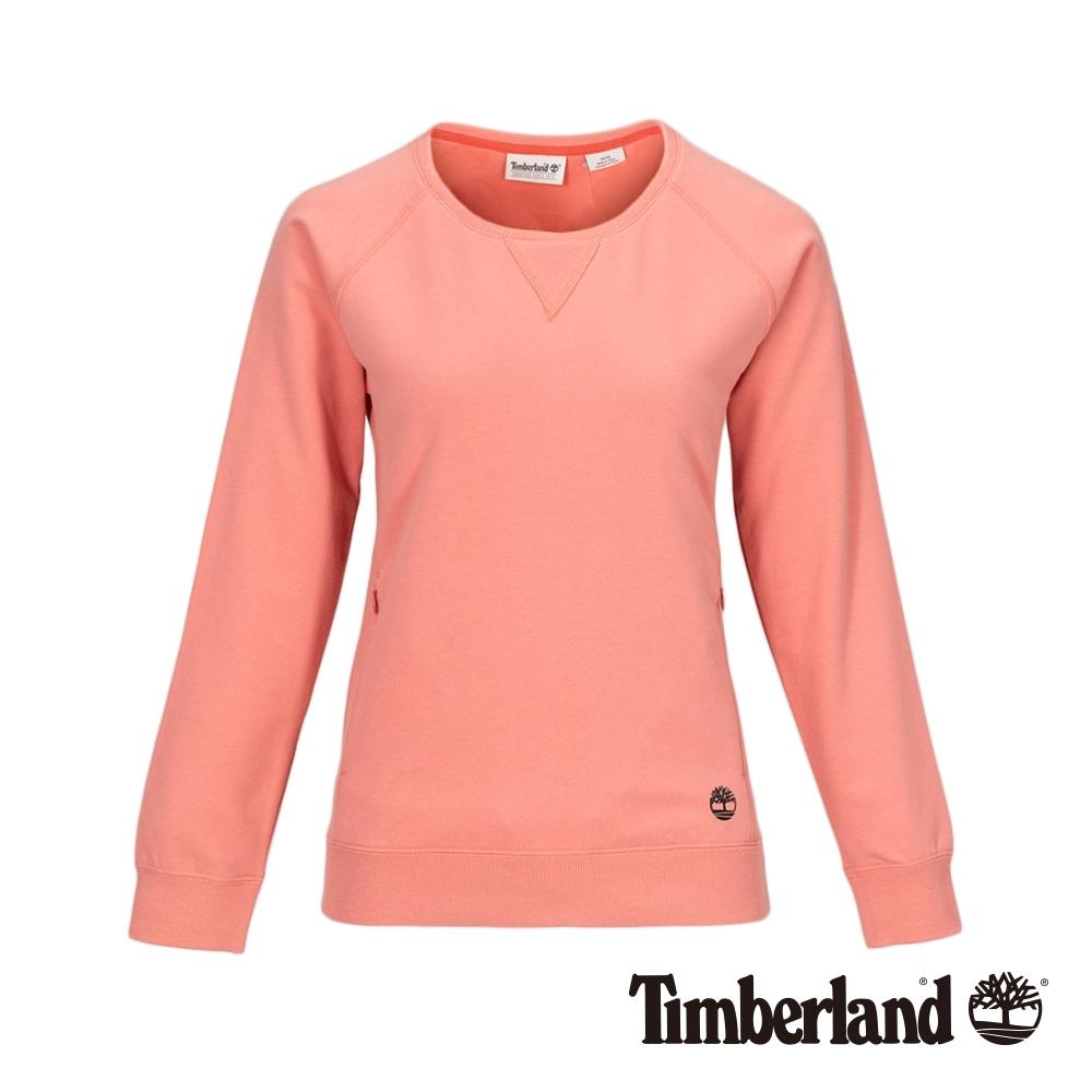 Timberland 女款鮭魚粉品牌LOGO圓領大學T|B4810