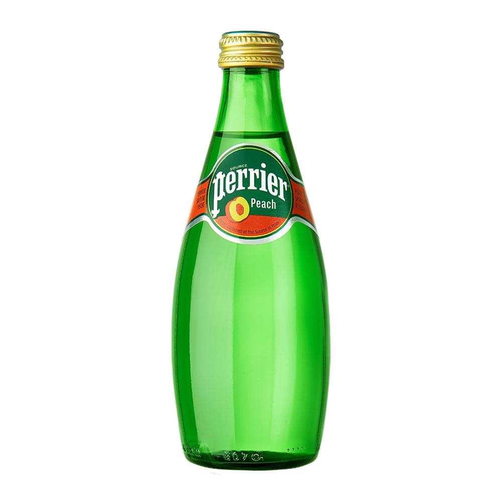 法國沛綠雅Perrier 氣泡天然礦泉水-水蜜桃風味(330mlx24罐/玻璃瓶)