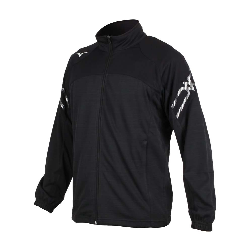 MIZUNO 男針織運動外套-立領外套 慢跑 路跑 美津濃 抗UV 吸汗速乾 32TC053499 黑白銀