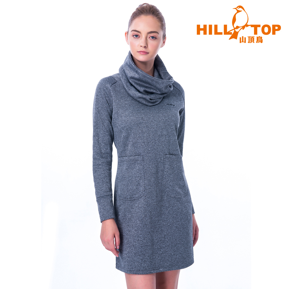 【hilltop山頂鳥】女款ZISOFIT保暖刷毛連身上衣H51FI6淺灰