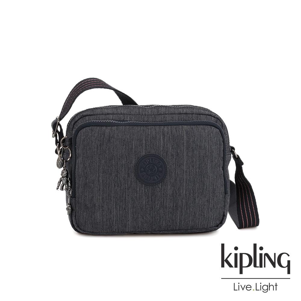Kipling 未來感極簡風深灰丹寧雙層側背包-SILEN