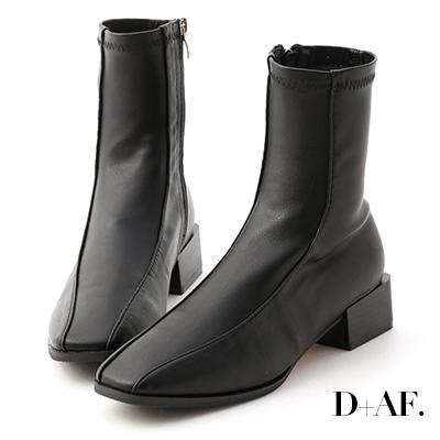 D+AF 美拍風格.雙摺線木紋跟襪靴*黑