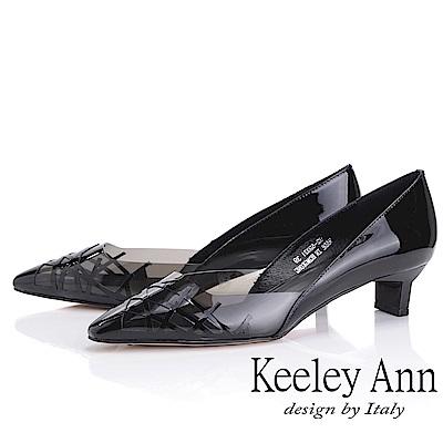 Keeley Ann時尚膠片 側邊簍空低跟包鞋(黑色-Ann系列)