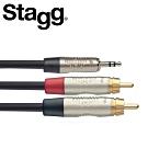 STAGG NYC3MPS2CMR 3M Y型音源線立體聲公頭 對 雙RCA公頭