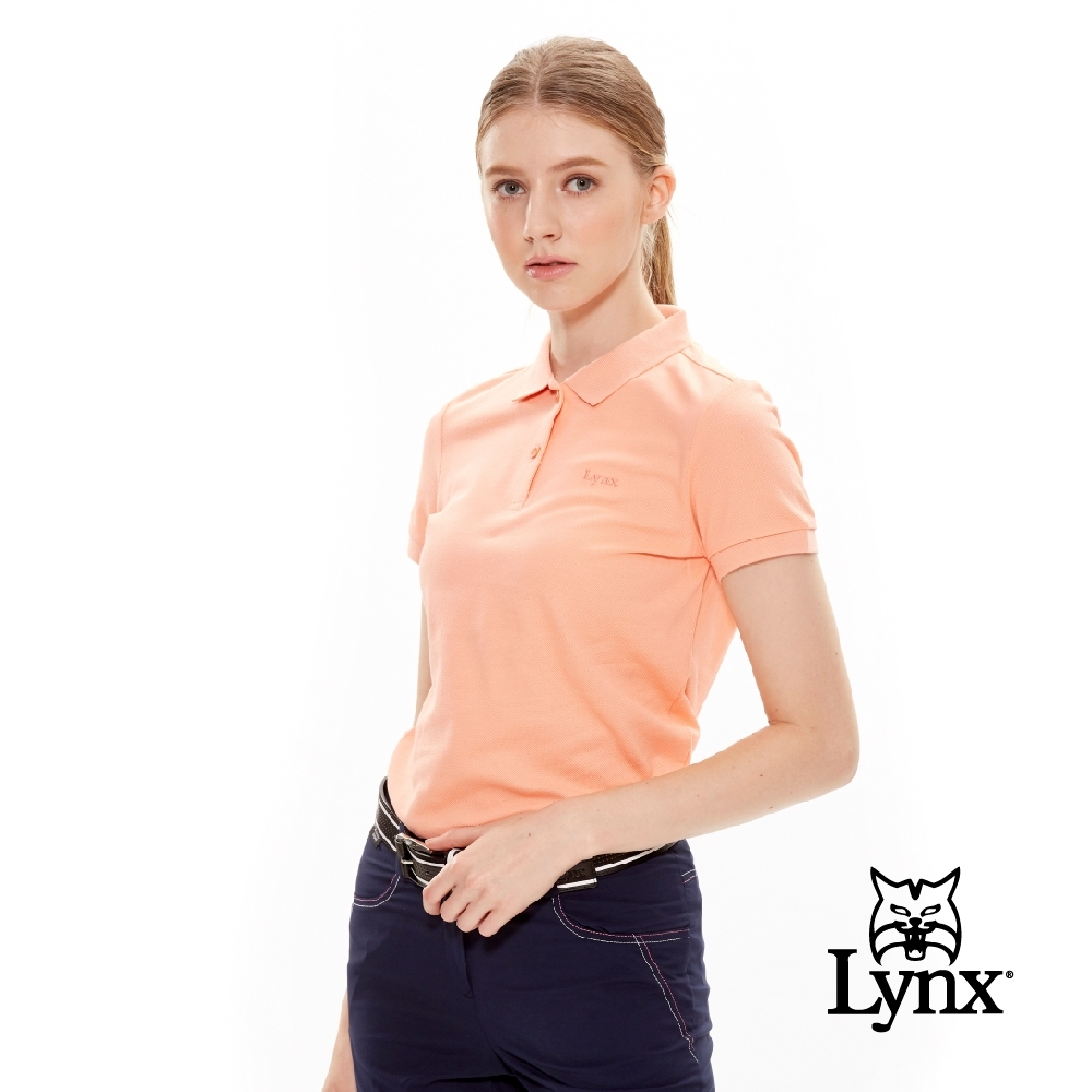 【Lynx Golf】女款經典配色Logo繡字短袖POLO衫-粉橘色