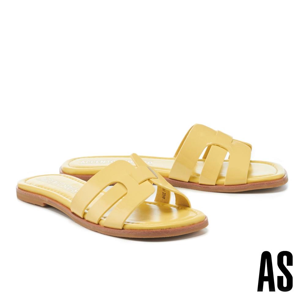 拖鞋 AS 質感光澤超軟小皺漆皮低跟拖鞋-黃