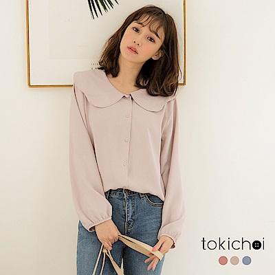 東京著衣-鄰家女孩多色荷葉領輕透雪紡上衣(共三色)