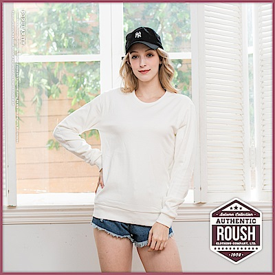 Roush 女生over size麂皮貼布設計保暖海狸毛棉T(5色)