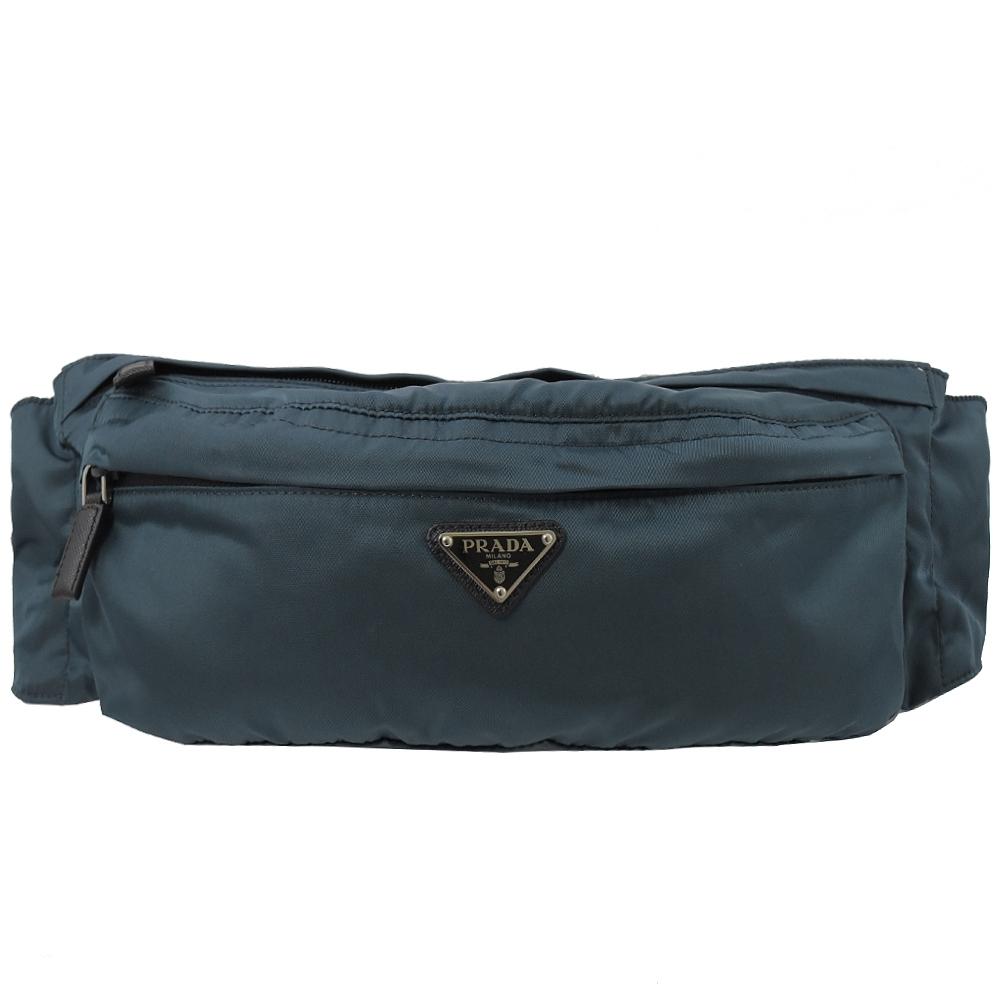 PRADA 三角LOGO經典尼龍材質腰包/胸口包(深靛藍)
