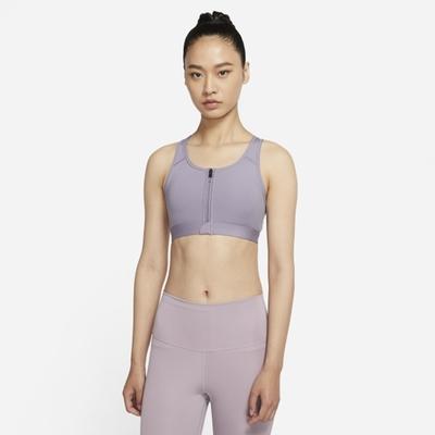 Nike Dri-FIT Swoosh Zip-Front 中強度 女運動內衣-紫-DD1206529