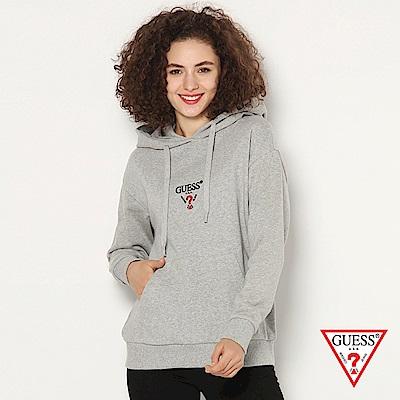 GUESS-女裝-logo文字印刷帽T-灰