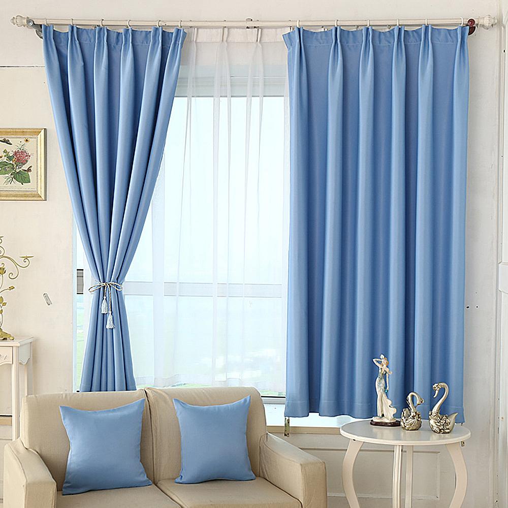 布安於室-素色淺藍單層遮光窗簾-寬130x高150cm
