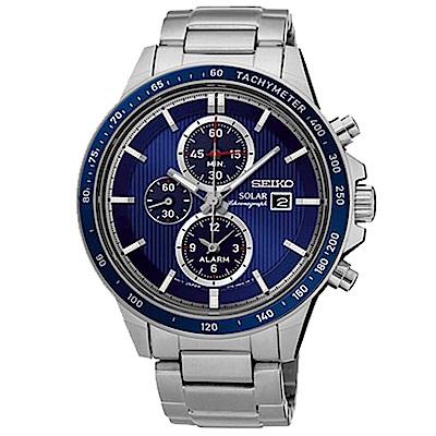 SEIKO 可圈可點太陽能三眼不鏽鋼男錶 (SSC431P1)-藍x44mm