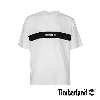 Timberland 男款白色圓領撞色印花短袖T恤|A1OAF