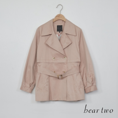 bear two-翻領後百摺造型風衣外套-粉紅