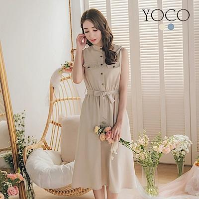 東京著衣-YOCO 文青女孩排釦設計附綁帶洋裝-S.M.L-(共二色)