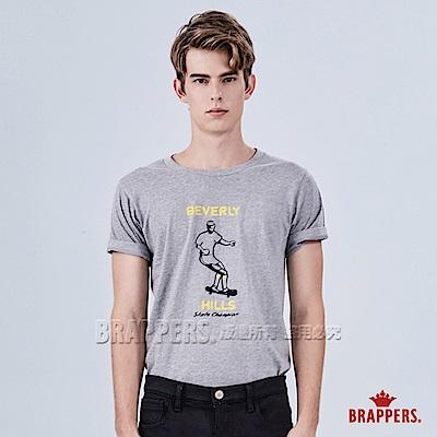 BRAPPERS 男款 日本製滑板人物印刷T恤-灰