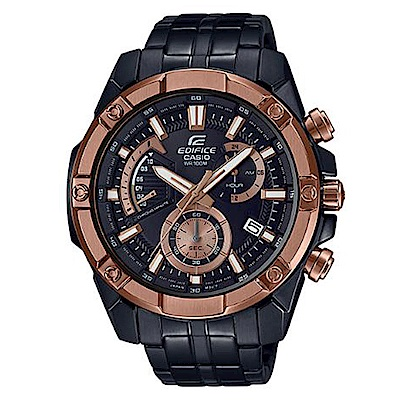 EDIFICE 粗曠質感搶眼大錶面不鏽鋼腕錶(EFR-559DC-1B)玫瑰金框/49.5