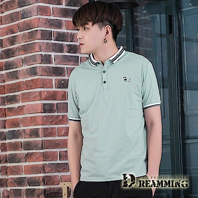 Dreamming 休閒質感DOG透氣棉質短POLO衫-共二色