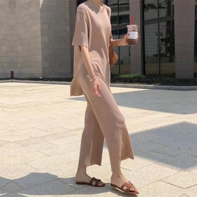 2F韓衣-簡約舒適素色精舒棉短袖上衣寬褲套裝-3色-(F)