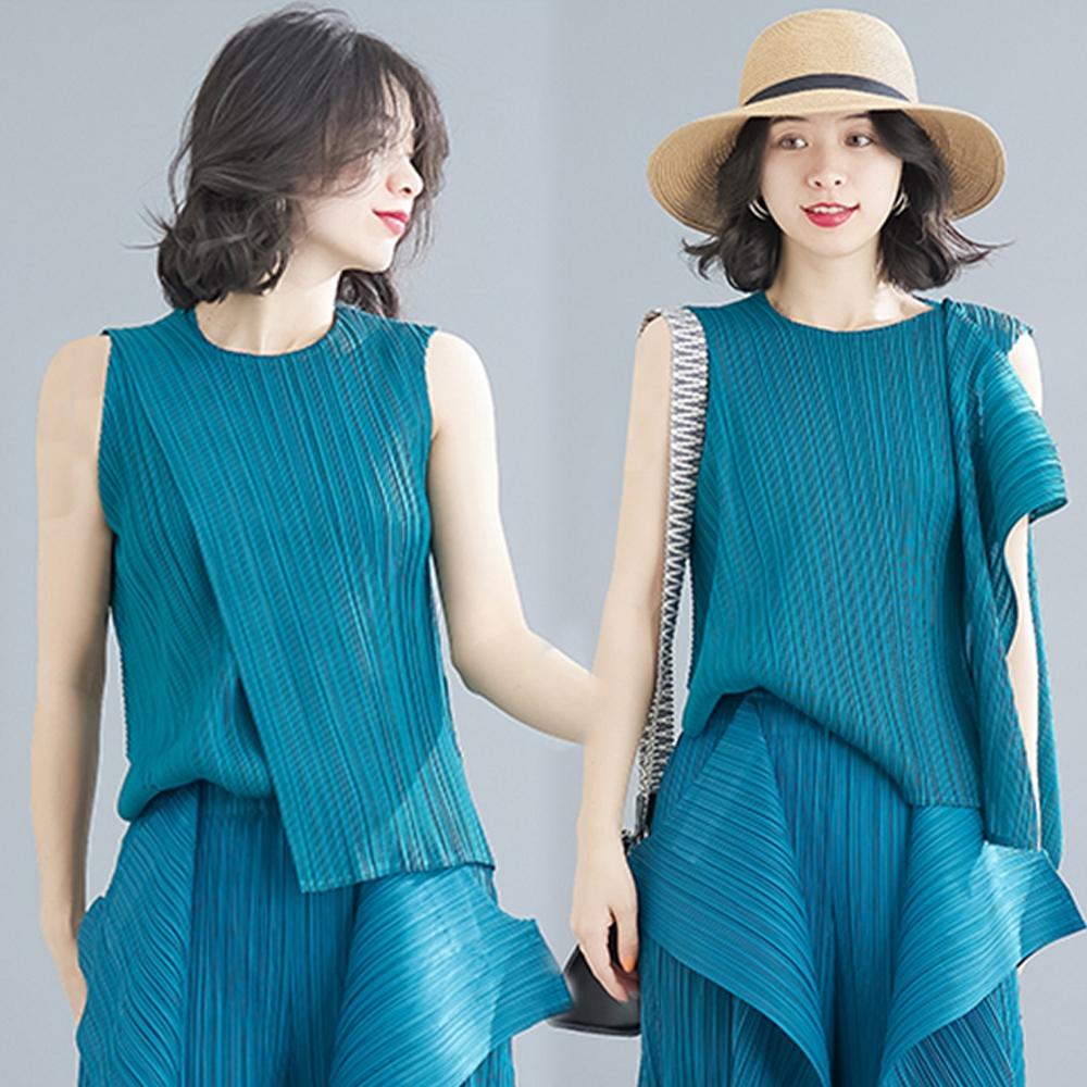 [KEITH-WILL]-(預購)修身特色兩種穿法三宅風壓摺上衣 (孔雀藍)