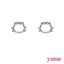 YUME - K金KT簍空晶鑽耳環