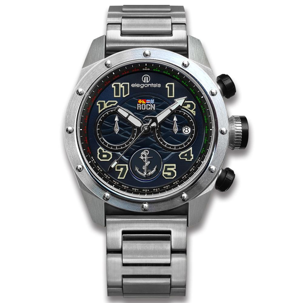 elegantsis 限量 中華民國海軍艦隊款 不鏽鋼手錶-深藍色/47mm ★贈錶帶 @ Y!購物