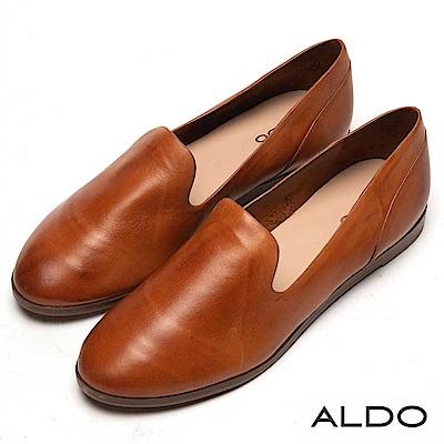 ALDO 原色真皮鞋面木紋平底休閒鞋~內斂焦糖