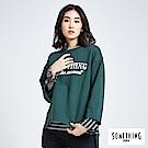 SOMETHING 青春高校 休閒字母圓領T恤-女-苔綠