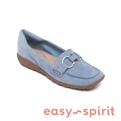 Easy Spirit-seAVIENTA 柔軟山羊皮革飾釦休閒平底鞋-絨藍