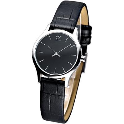 CK 優雅品味丁字刻度皮帶女錶-黑(K4D231C1)/23mm