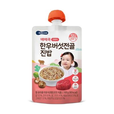 韓國【BEBECOOK】寶膳 嬰幼兒韓牛香菇湯軟飯(100g)
