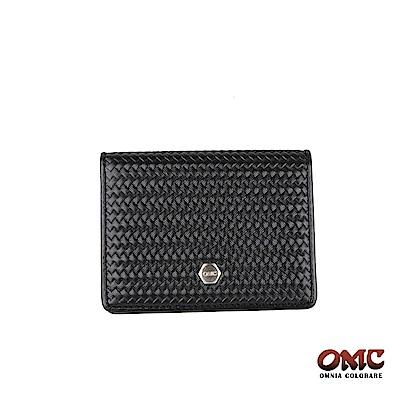 OMC 編織紋翻蓋3卡透明窗名片夾-黑色