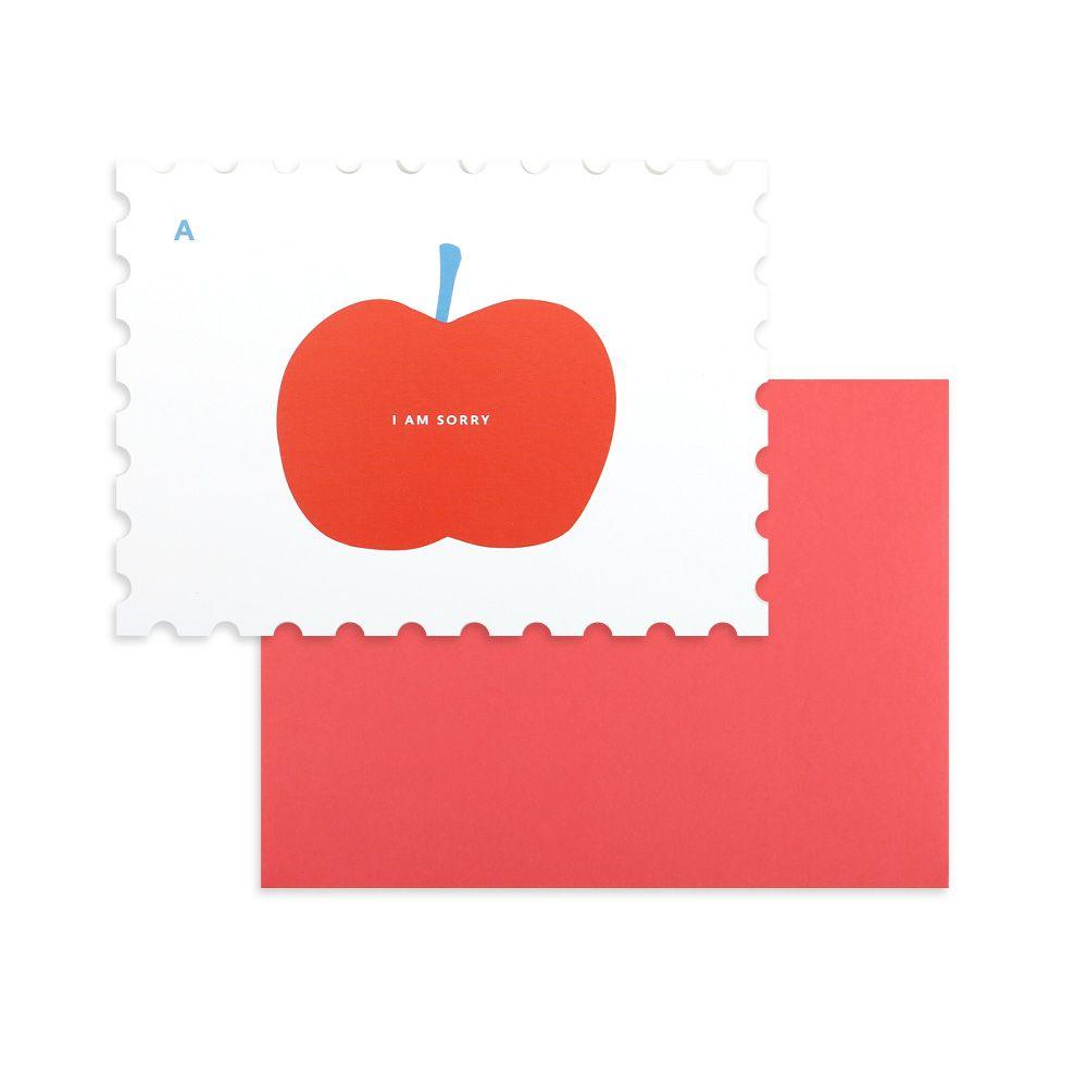 Dailylike 郵票造型卡片信封組-09 蘋果