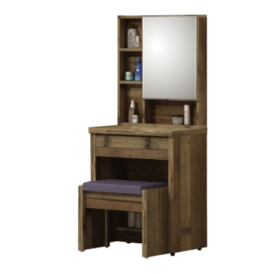 【AT HOME】美式輕工業2尺厚切木紋化妝台/化妝桌(雀巢)