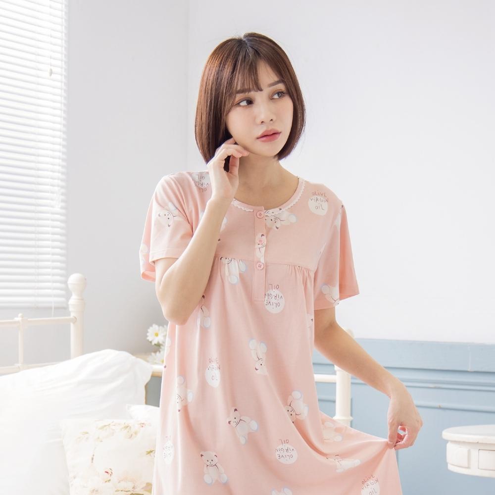 RoseMony羅絲夢妮 - 可愛小熊短袖半開釦洋裝睡衣(QQ粉) (QQ粉)