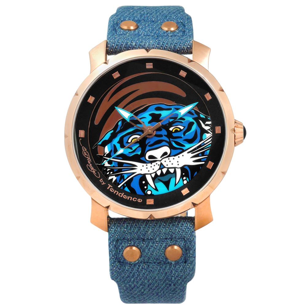 Tendence 天勢表 霸氣視覺老虎防水帆布真皮手錶-黑藍x玫瑰金框/47mm