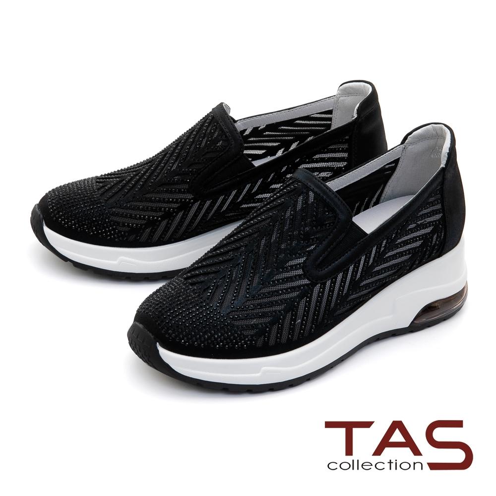 TAS布紋羊皮拼接水鑽休閒鞋-焦點黑