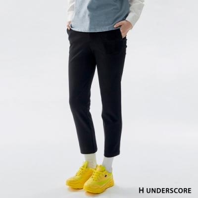 H UNDERSCORE 全新潮牌 女裝 - 簡約純色西裝直筒褲 - 黑色