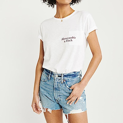 麋鹿 AF A&F 經典文字印刷口袋設計短袖T恤(女)-白色