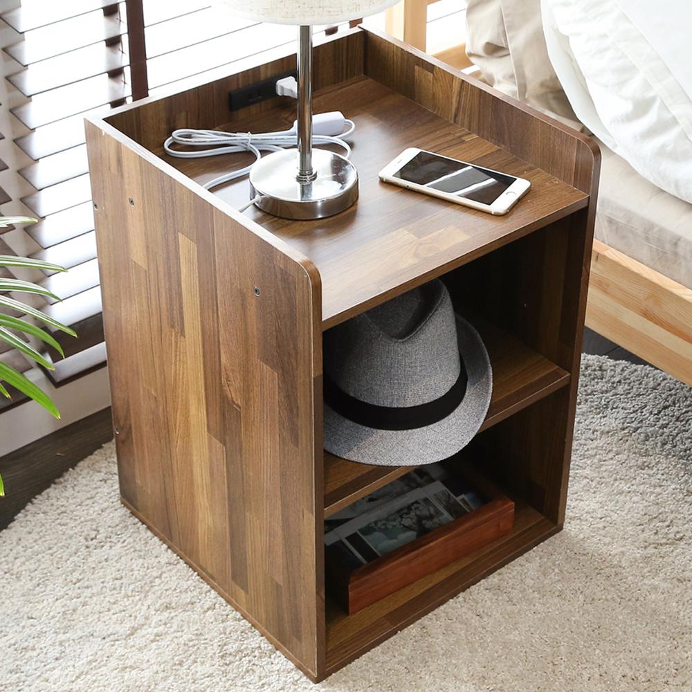 澄境 工業風附插座雙層收納床頭櫃(集成木紋)40x40x55cm-DIY