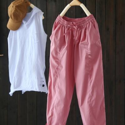 水粉色的秋/舒適親膚天絲棉休閒哈倫長褲-設計所在
