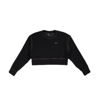 Nike T恤 Therma Icon Sweats 女款 短版 露腰 小LOGO 穿搭 流行 黑 金 CU6094010