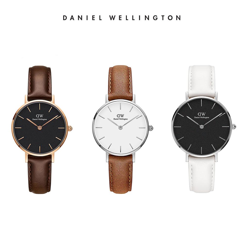 限時優惠|DW 手錶 官方旗艦店 28mm 真皮皮革錶 (三款任選)