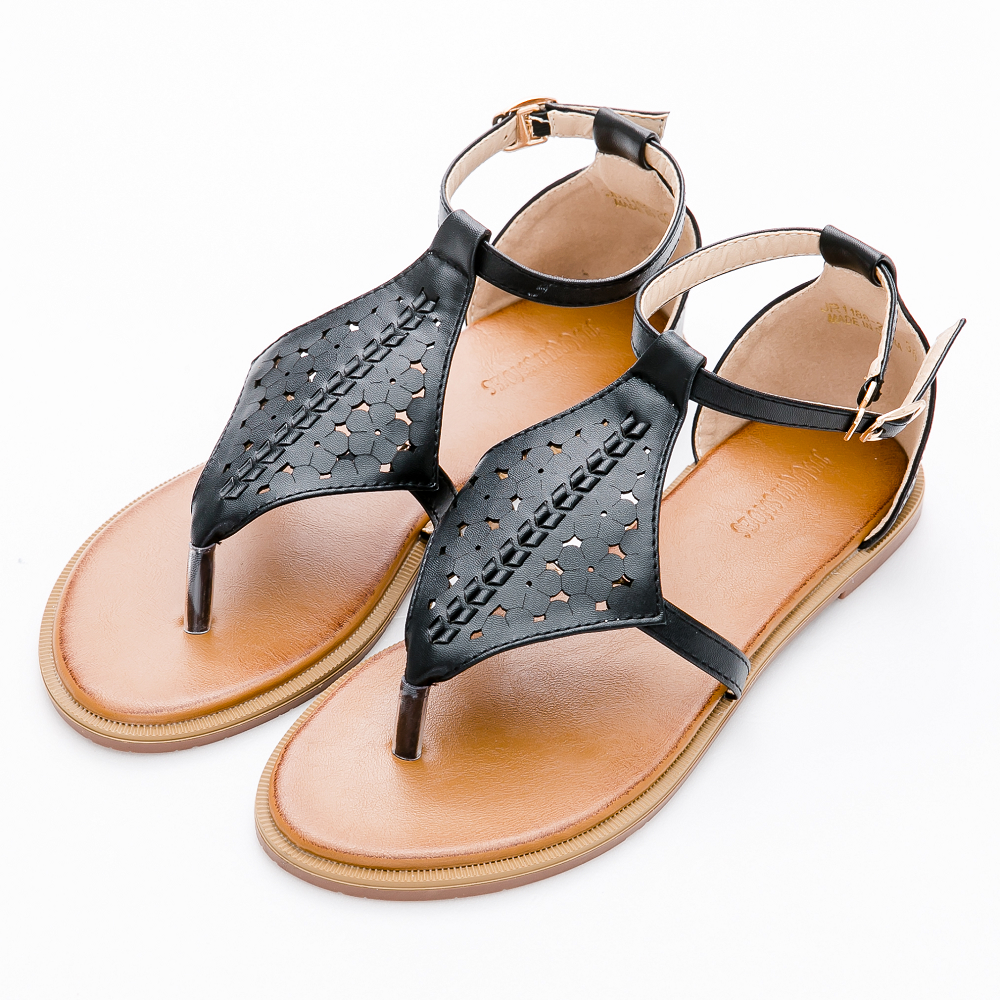 River&Moon大尺碼-韓版菱形雕花夾腳平底涼鞋-黑