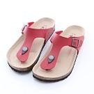 ZUCCA-經典釦飾夾腳休閒拖鞋-紅-z6623rd