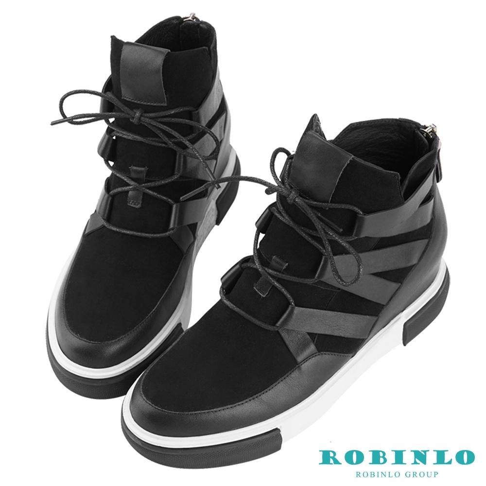 Robinlo 率性綁帶異材質真皮短靴 黑色